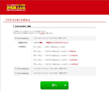 お名前.com レンタルサーバー VPS お申し込み内容選択