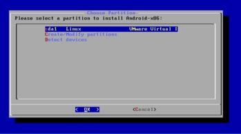 Android x86 ディスクパーティション選択1