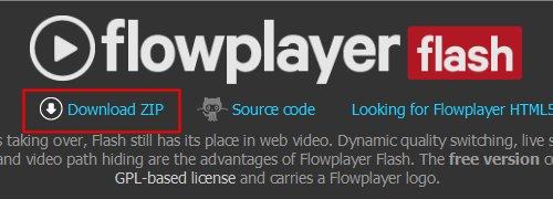 Flowplayer Flash版ダウンロードページ