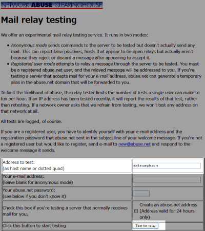 Mail relay testing