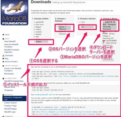 Mariadb インストール手順を確認