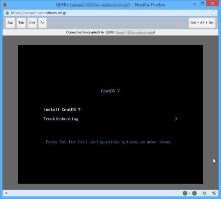 さくらのVPSカスタムOSインストール開始(HTML5モード)