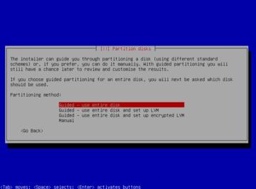Debian インストール パーティション